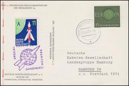 Raketenpost DRG Rakete 2A Sahlenburg-Neuwerk, Postkarte EF CUXHAVEN 25.6.61 - Timbres