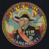 """Ancienne étiquette Fromage  Camembert Joffre Le Meilleur """"guerre 14-18, Maréchal Joffre"""" - Cheese"""