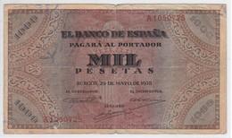 BILLETE DE ESPAÑA DE 1000 PTAS DEL AÑO 1938 DE BURGOS SERIE A  (DIFÍCIL Y RARO) - 1000 Pesetas