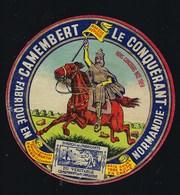 Ancienne étiquette Fromage Camembert Normandie Le Conquérant Ets Fernand Martin à Ernes Calvados  Nice 1929 - Quesos