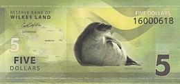 WILKES LAND  Antarctica 5 Dollars 2014  UNC Phoque Antarctique - Fictifs & Spécimens