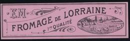 """Ancienne étiquette Fromage De Lorraine  1ere Qualité""""EM"""" Elie Mengel à Laveline-du-Houx Vosges 88 """"vaches"""" - Quesos"""
