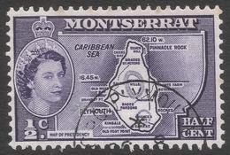 Montserrat. 1953-62 QEII. ½c Used (type I). SG 136a - Montserrat