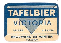 Etiket Etiquette - Bier Bière - Tafelbier Victoria - Brouwerij De Winter - Cerveza