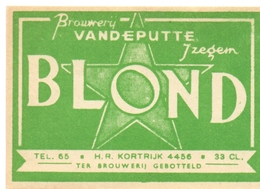 Etiket Etiquette - Bier Bière - Brouwerij Vandeputte Izegem - Blond - Cerveza