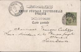 YT N/b 102 Sage CAD Constantinople Galata 1901 Pour Samsoun Turquie 24 Avril 01 Type B I13 Bureau Français à L'étranger - Marcophilie (Lettres)
