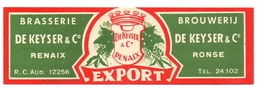 Etiket Etiquette - Bier Bière - Export - Brouwerij Brasserie De Keyser & C° - Ronse Renaix - Cerveza