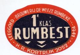 Etiket Etiquette - Bier Bière - 1° Klas Rumbest - Brouwerij De Weeze Rumbeke - Cerveza