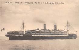 """M08028 """"GENOVA-PIROSCAFO PRINCIPESSA MAFALDA IN PARTENZA PER LE AMERICHE"""" CARTOLINA POSTALE ORIGINALE NON SPEDITA - Piroscafi"""