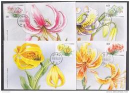 China P.R. 2002 Lillies 4v 4 Maxicards (42505) - Maximumkaarten