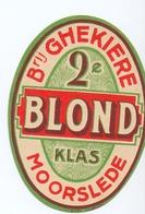 Etiket Etiquette - Bier Bière - Blond - Brouwerij Ghekiere - Moorslede - Cerveza