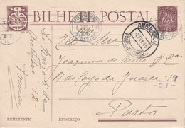 PORTUGAL 1945 ENTIER POSTAL/GANZSACHE/POSTAL STATIONERY CARTE AVEC CACHET AMBULANT ZUGSTEMPEL - Postwaardestukken