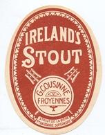 Etiket Etiquette - Bier Bière - Ireland's Stout -  G. Cousinne - Froyennes - Cerveza