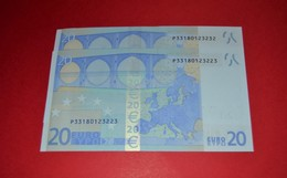 2x 20 EURO NETHERLANDS - R020A1 - P33180123223 / P33180123232 - UNC NEUF - EURO