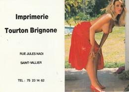 Calendriers : Petit Format - 1991 : Femme à Seins Nus  : Imprimerie Tourton Brignonne : Saint Vallier - Drome - Calendars