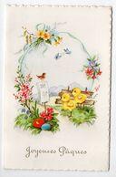 Joyeuses Pâques --1962-- Carte Double  Poussins Chanteurs,oiseau,oeufs,fleurs Et Papillons - Pâques