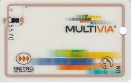 TARJETA DE TRANSPORTE DEL METRO DE SANTIAGO DE CHILE - MULTIVIA - BANCO DE CHILE - Tarjetas Telefónicas