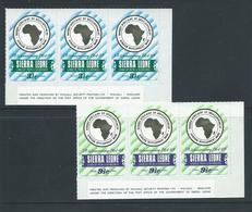 Sierra Leone 1969 African Development Bank Self Adhesive Set 2 As Imprint Strips Of 3 MNH - Sierra Leone (1961-...)