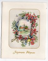 Joyeuses Pâques --1957-- Carte Double  Paysage ,oiseau,fleurs Et Libellule - Pâques