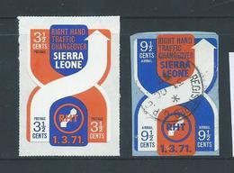 Sierra Leone 1971 Traffic Change Self Adhesives 3&1/2c MLH , 9&1/2c FU On Piece - Sierra Leone (1961-...)