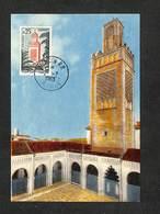 ALGÉRIE - Carte Maximum 1963 - TLEMCEN - La Grande Mosquée Date De 1135 Et Son Minaret Date De 1250 - 0,25 - Maximumkarten
