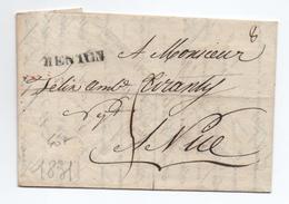 1831 - LETTRE De MENTON (ALPES MARITIMES) Pour NICE - Marcophilie (Lettres)