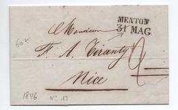 1846 - LETTRE De MENTON (ALPES MARITIMES) Pour NICE - 1801-1848: Precursors XIX