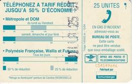 TARJETA DE NUEVA CALEDONIA DE 25 UNITES DE UNA CASA TIRADA 145000 CON LETRAS POR DETRAS - New Caledonia