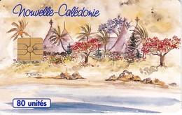 TARJETA DE NUEVA CALEDONIA DE 80 UNITES DE UN POBLADO TIRADA 50000 - New Caledonia