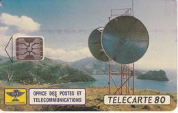 TARJETA DE NUEVA CALEDONIA DE UNA ANTENA PARABÓLICA DE TIRADA 40000 (SATELLITE-SATELITE) - New Caledonia