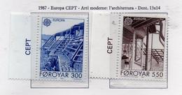 """PIA  -  FAROER -  1987  :  Europa - Architettura Moderna - """"La Casa Del Nord""""   (Yv 143-44) - Féroé (Iles)"""