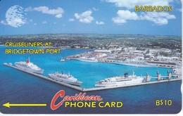 TARJETA DE BARBADOS DE $10 DE CRUISELINERS AT BRIDGETOWN PORT 10CBDA - Barbados