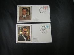 """BELG.1980 1962 & 1963 FDC Soide/soie (Brux/Brus) : King Baudouin Type """"Elström """" - 1971-80"""