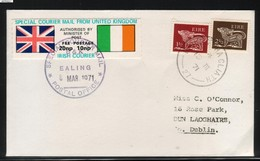 GREAT BRITAIN GB 1971 POSTAL STRIKE MAIL SPECIAL COURIER MAIL 2ND ISSUE DECIMAL COVER LONDON TO IRELAND EIRE 8 MARCH - 1949-... Republic Of Ireland