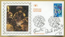 Dick Rivers (1945-2019) - Premier Jour Philatélique Signé Et Daté 1999 - Autographes