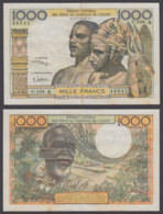 West African States 1000 Francs ND 1959-65 (VF-XF) Condition Banknote P-103Aj - West African States