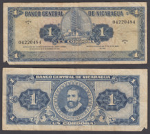 Nicaragua 1 Cordoba 1962 (VG-F) Condition Banknote P-107 - Nicaragua