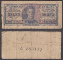 Ceylon 10 Cents 1942 (VG) Condition KGVI Banknote P-43a - Billets