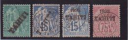 TAHITI : N° 10, 12, 24 , 29 . OBL . 1893 . TB . - Tahiti