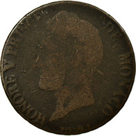Monnaie, Monaco, Honore V, 5 Centimes, Cinq, 1837, Monaco, TB, Cast Brass - Mónaco