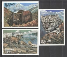 P474 BHUTAN FAUNA WILD ANIMALS ENDANGERED SPECIES OF THE WORLD 3BL MNH - Félins
