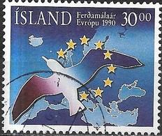 ICELAND 1990 European Tourism Year - 30k Bird, Stars And Map FU - 1944-... Republique