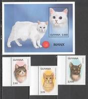 P475 GUYANA FAUNA PETS CATS OF THE WORLD 1BL+1SET MNH - Chats Domestiques