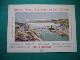 GRAND HOTEL BELLEVUE AU LAC  ZURICH   CARTONCINO PUBBLICITARIO ANNI '30 - Cartoncini Da Visita