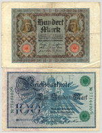 Allemagne - 100 Mark 1920 - 1908 Lot 2 Billets - 100 Mark