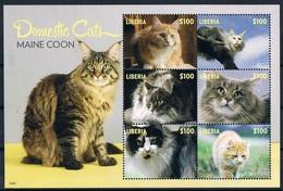 Bloc Sheet Animaux Chats Animals Cats Neuf MNH ** Liberia 2014 - Chats Domestiques
