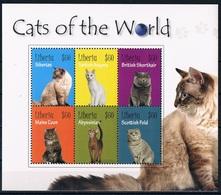 Bloc Sheet Animaux Chats Animals Cats Neuf MNH ** Liberia 2010 - Chats Domestiques