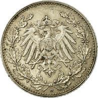 Monnaie, GERMANY - EMPIRE, 1/2 Mark, 1905, Munich, TTB+, Argent, KM:17 - [ 2] 1871-1918 : Empire Allemand