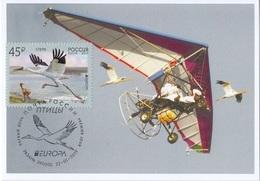 2653 Mih 2436 Russia 01 2019 Cartes Maximum Cards 4 Europa Fauna National Birds Siberian Crane Grus Leucogeranus - Cigognes & échassiers