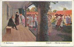 """P. Stachiewicz - """"Dozynki"""" - """"Fête Des Moissonneurs"""". Animée, CPA Ayant Circulé En 1912. - Pologne"""